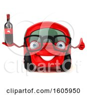 Clipart Of A 3d Red Car Holding Wine On A White Background Royalty Free Illustration