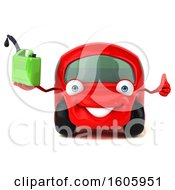 Clipart Of A 3d Red Car Holding A Gas Can On A White Background Royalty Free Illustration