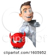 Poster, Art Print Of 3d Caucasian Male Armored Knight Holding A Devil On A White Background