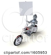 Clipart Of A 3d Armored Knight Riding A Chopper Motorcycle On A White Background Royalty Free Illustration