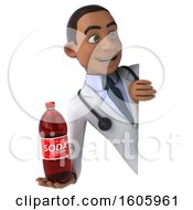 Clipart Of A 3d Young Black Male Nutritionist Doctor Holding A Soda On A White Background Royalty Free Illustration