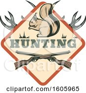 Clipart Of A Squirrel Hunting Design With Rifles Royalty Free Vector Illustration