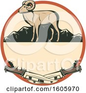 Clipart Of A Ram Hunting Design With Knives In A Circle Royalty Free Vector Illustration by Vector Tradition SM