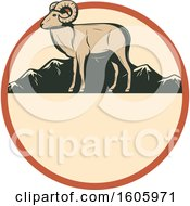 Clipart Of A Ram Hunting Design In A Circle Royalty Free Vector Illustration by Vector Tradition SM