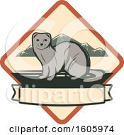 Clipart Of A Weasel Design In A Diamond Royalty Free Vector Illustration by Vector Tradition SM