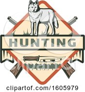 Clipart Of A Wolf Hunting Design With A Knife And Crossed Hunting Rifles Royalty Free Vector Illustration