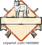 Poster, Art Print Of Wolf Hunting Design With Crossed Hunting Rifles
