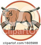 Clipart Of A Buffalo Hunting Design With Rifles Royalty Free Vector Illustration by Vector Tradition SM