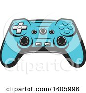 Clipart Of A Blue Video Game Controller Royalty Free Vector Illustration