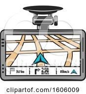 Clipart Of A Gps Device Royalty Free Vector Illustration