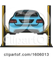 Clipart Of A Rear View Of A Blue Car On A Lift Royalty Free Vector Illustration