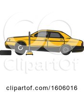 Clipart Of A Rear View Of A Blue Car On A Jack Royalty Free Vector Illustration