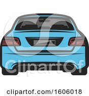 Rear View Of A Blue Car