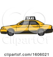 Clipart Of A Taxi Cab Royalty Free Vector Illustration