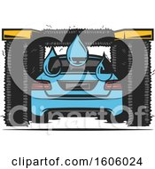 Clipart Of A Rear View Of A Blue Car Getting Washed Royalty Free Vector Illustration