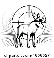Clipart Of A Black And White Moose Hunting Design Royalty Free Vector Illustration by Vector Tradition SM