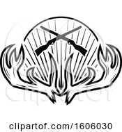 Clipart Of A Black And White Rifle And Antler Hunting Design Royalty Free Vector Illustration