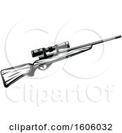 Clipart Of A Black And White Hunting Rifle Design Royalty Free Vector Illustration by Vector Tradition SM