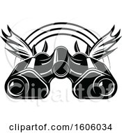 Clipart Of A Black And White Antlers And Binoculars Hunting Design Royalty Free Vector Illustration by Vector Tradition SM