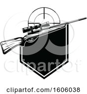Clipart Of A Black And White Hunting Rifle Design Royalty Free Vector Illustration