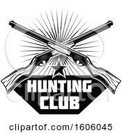 Clipart Of A Black And White Hunting Club Rifle Design Royalty Free Vector Illustration