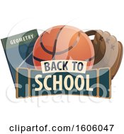 Clipart Of A Back To School Design With A Book Basketball And Baseball Glove Royalty Free Vector Illustration by Vector Tradition SM