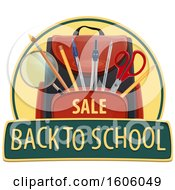 Clipart Of A Back To School Design With A Backpack Royalty Free Vector Illustration by Vector Tradition SM