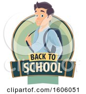 Clipart Of A Back To School Design With A Male Student Royalty Free Vector Illustration by Vector Tradition SM