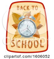 Clipart Of A Back To School Design With An Alarm Clock And Autumn Leaves Royalty Free Vector Illustration by Vector Tradition SM