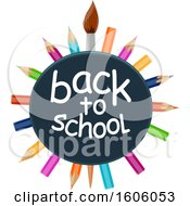 Clipart Of A Back To School Design With A Paintbrush And Colored Pencils Royalty Free Vector Illustration by Vector Tradition SM