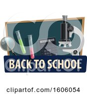 Clipart Of A Back To School Design With A Microscope And Supplies Royalty Free Vector Illustration by Vector Tradition SM