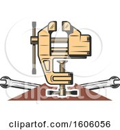 Clipart Of A Vise And Wrenches Royalty Free Vector Illustration by Vector Tradition SM