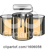 Clipart Of A Roller Brush And Paint Buckets Royalty Free Vector Illustration