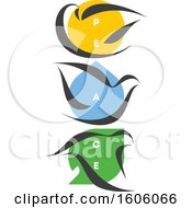 Trio Of Doves With Peace Text