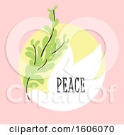 Clipart Of A Dove With Peace Text Over Pink Royalty Free Vector Illustration