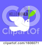 Peace Dove With Hello World Text On Blue
