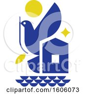 Clipart Of A Blue Peace Dove And Symbols Of Hope Royalty Free Vector Illustration