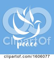 Dove With Peace Text On Blue