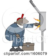 Clipart Of A Cartoon Black Male Electrician Touching A Power Box Royalty Free Vector Illustration