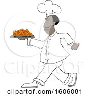 Clipart Of A Cartoon Black Male Chef Walking With A Plate Of Carrots Royalty Free Vector Illustration