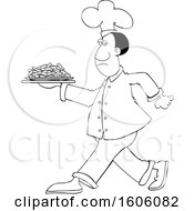 Clipart Of A Cartoon Lineart Black Male Chef Walking With A Plate Of Carrots Royalty Free Vector Illustration