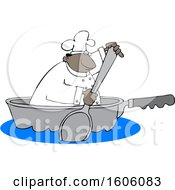 Cartoon Black Male Chef Using A Spoon To Paddle A Pan Boat