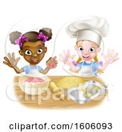 Clipart Of Happy White And Black Girls Making Pink Frosting And Star Shaped Cookies Royalty Free Vector Illustration