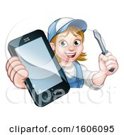 White Female Electrician Holding A Screwdriver And Cell Phone Over A Sign