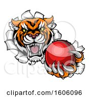 Clipart Of A Vicious Tiger Mascot Breaking Through A Wall With A Cricket Ball Royalty Free Vector Illustration