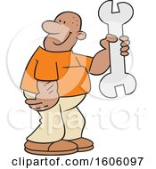 Clipart Of A Cartoon Black Man Holding A Giant Wrench Royalty Free Vector Illustration
