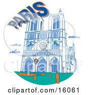 The Notre Dame Cathedral In Paris France Clipart Illustration