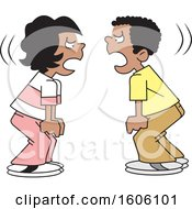 Clipart Of Cartoon Black Boy And Girl Yelling At Each Other Royalty Free Vector Illustration