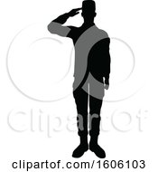 Poster, Art Print Of Black Silhouetted Male Soldier Saluting