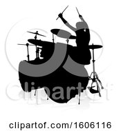 Silhouetted Female Drummer With A Reflection Or Shadow On A White Background